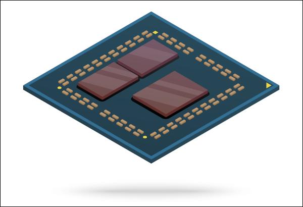 Diseño interior de un procesador de computadora con chiplets