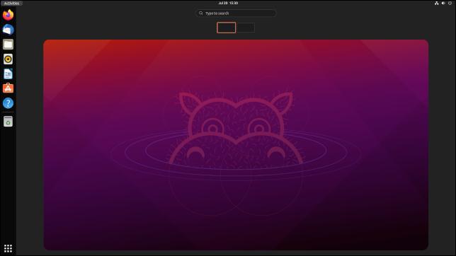 La vista de actividades en Ubuntu 21.10, versión preliminar