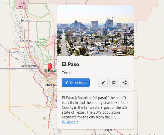 Panel de información en la aplicación Mapas