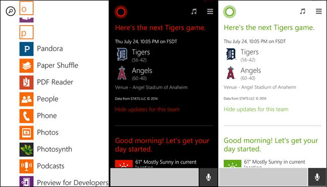 Aplicaciones de Windows Phone con colores.