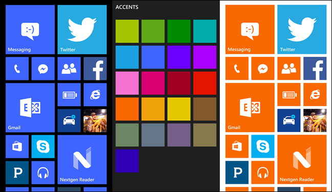 Opciones de color de Windows Phone.