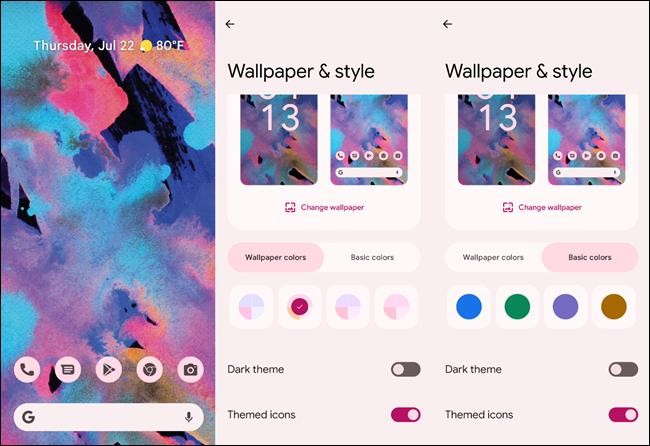 Opciones de color de Android 12.