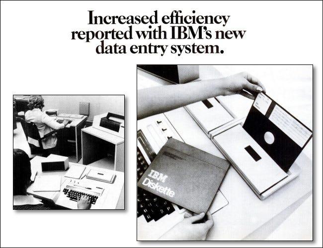 Un extracto de un anuncio de 1973 del sistema de entrada de datos IBM 3740
