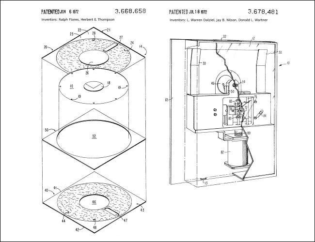 Diagramas de las primeras patentes de unidades de disquete de IBM.