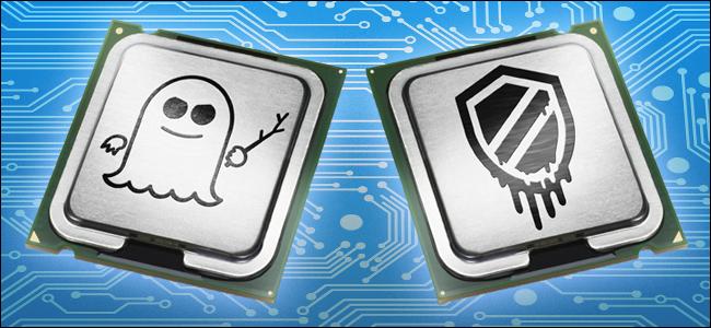 CPU estilizadas con logotipos de Spectre y Meltdown.