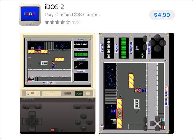 La entrada de iDOS 2 en la App Store de Apple.