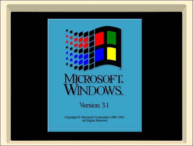 La pantalla de presentación de Windows 3.1 en iDOS 2 en iPad.