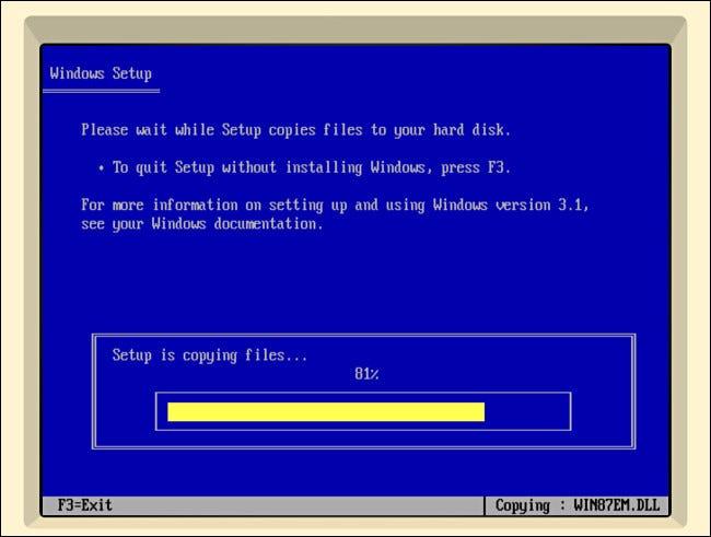 Copia de archivos para la configuración de Windows 3.1 en iDOS 2 en iPad.