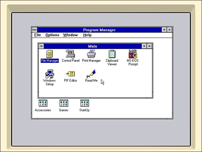 El escritorio de Windows 3.1 en iDOS 2 en iPad.