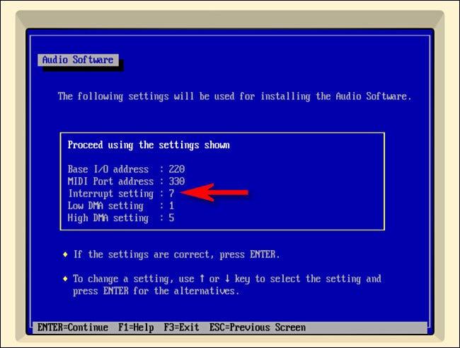 Mientras configura los controladores de sonido para Windows 3.1 en iDOS, cambie la interrupción de 5 a 7.