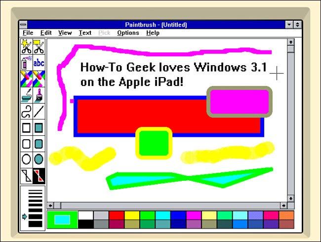 Pincel en Windows 3.1 en iDOS 2 en iPad.