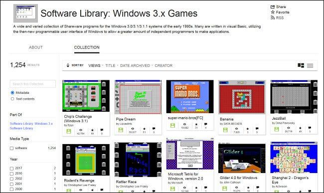 Explorar juegos de Windows 3.1 en el archivo de Internet.