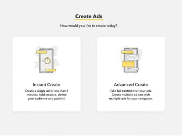 Crear pantalla de anuncios en Snapchat Ads