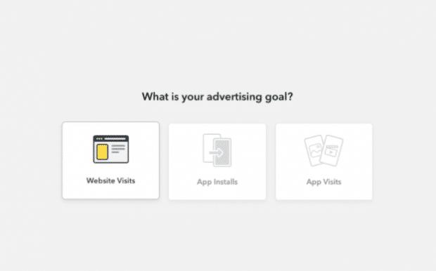 ¿Cuál es su objetivo publicitario?  página en anuncios de Snapchat