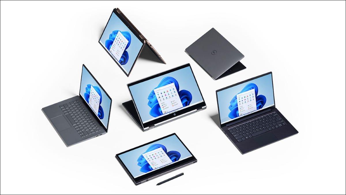 Computadoras portátiles y tabletas con Windows 11.