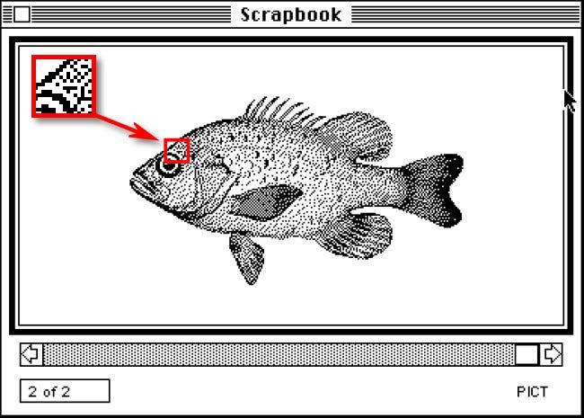 Un ejemplo de gráficos monocromáticos de 1 bit en Mac System 1.0 de 1984.