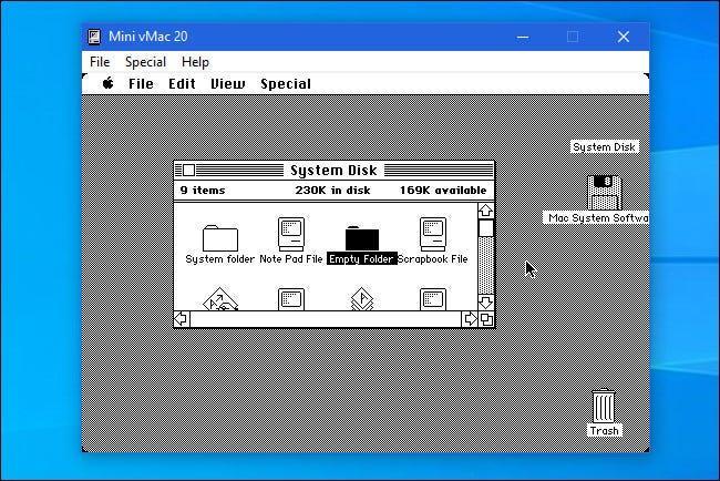El emulador Mini vMac que se ejecuta en Windows 10.