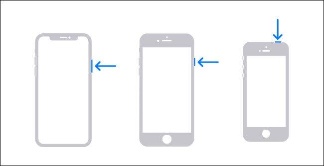 Diagrama que muestra los botones de hardware que debe mantener presionados para apagar un iPhone.