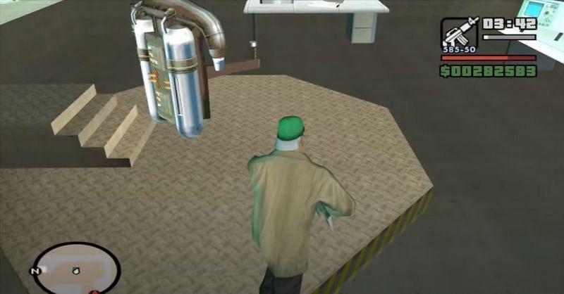 Los jugadores de GTA San Andreas encuentran su primer Jetpack aquí (Imagen a través de GTASeriesGuides)