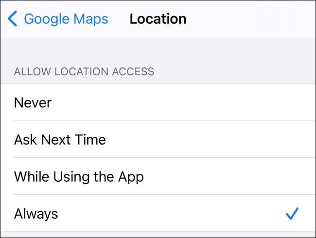 Configuración de ubicación de Google Maps