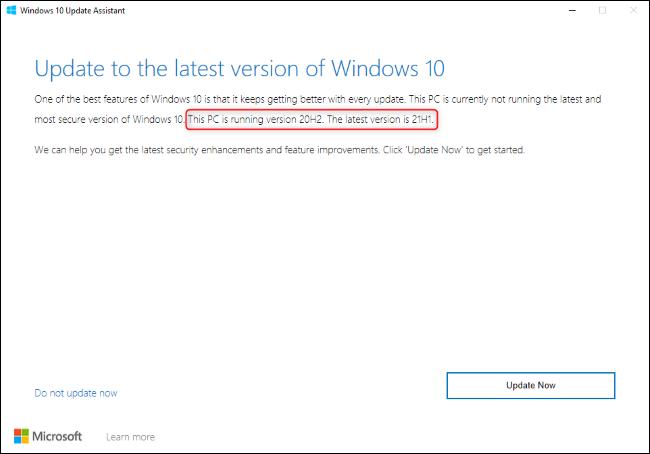 El Asistente de actualización de Windows 10 muestra una actualización a 21H1.