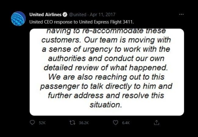 Respuesta del CEO de United Airlines
