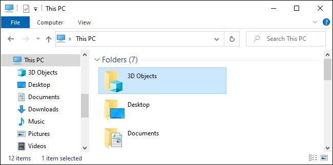 La carpeta de objetos 3D en el Explorador de archivos