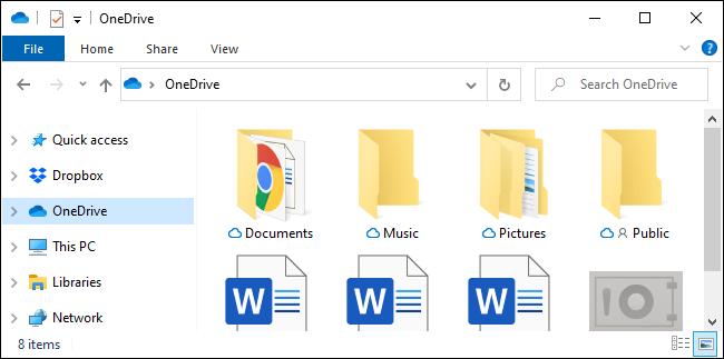 La carpeta de la barra lateral de OneDrive en el Explorador de archivos