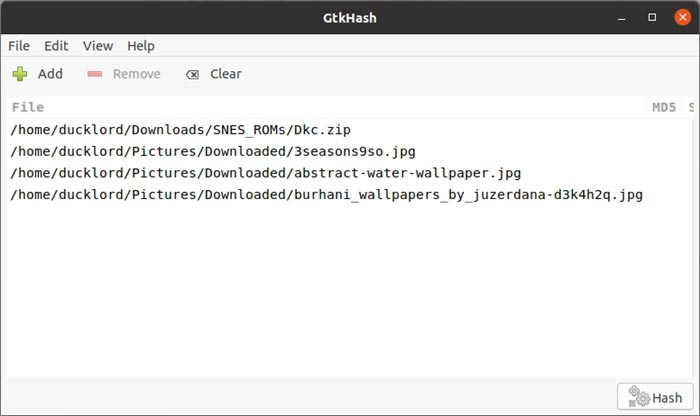 Comprobar hashes con archivos abiertos de Gtkhash