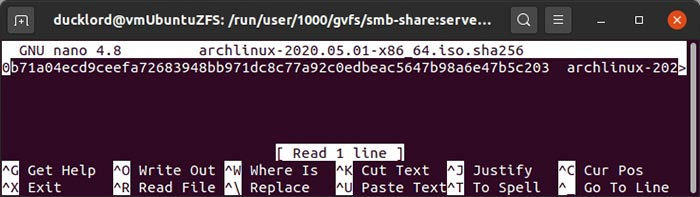 Verificar hashes con Gtkhash Terminal Hash Txt