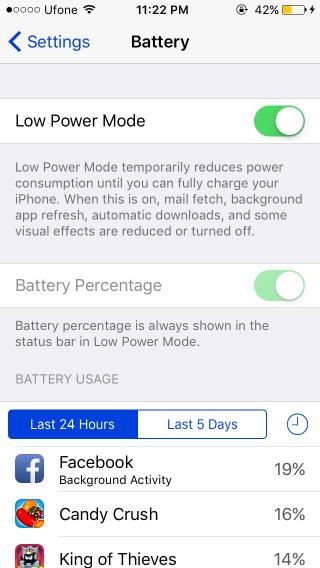 modo de batería baja ios9