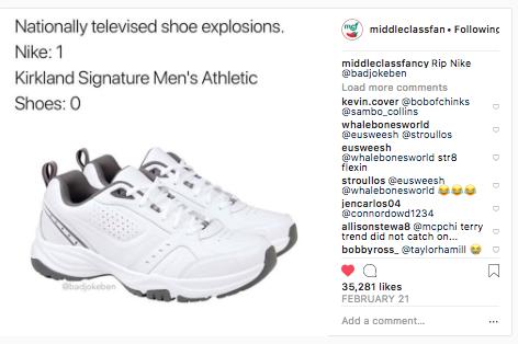Clase media Fancy meme sobre zapatillas Nike
