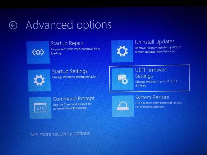 Configuración de firmware Uefi Windows 10