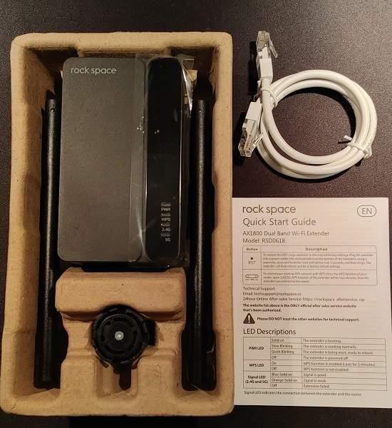 Caja de revisión del repetidor Rock Space Ax1800 Wi Fi 6