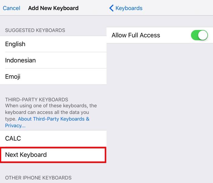 Siguiente Teclado iOS -mte- 04 - Permitir acceso completo