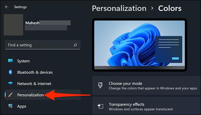 """Haga clic en """"Personalización"""" en Configuración en Windows 11."""