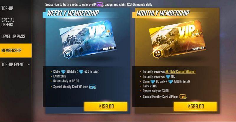 El precio de la membresía mensual en Free Fire (Imagen a través de Free Fire)