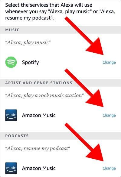 Servicios predeterminados de la aplicación Alexa para música