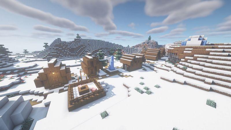 Un pueblo nevado (Imagen a través de Minecraft)