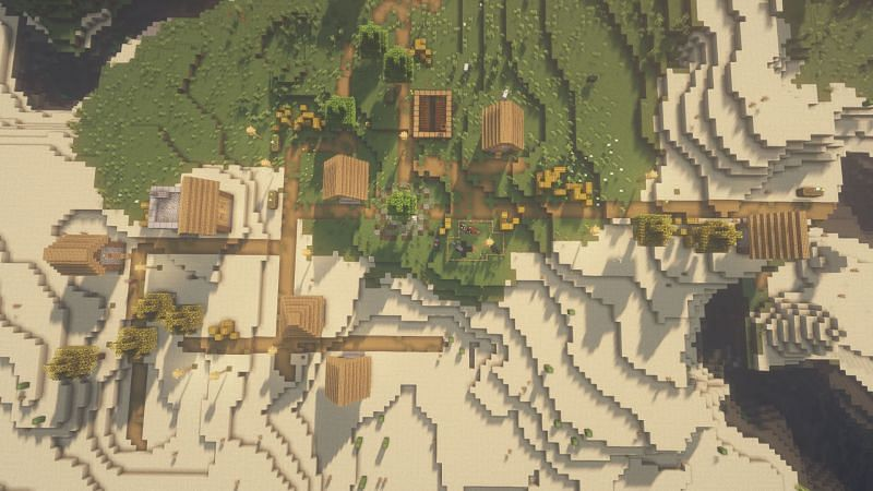 Una aldea de las llanuras en el juego (Imagen a través de Minecraft)