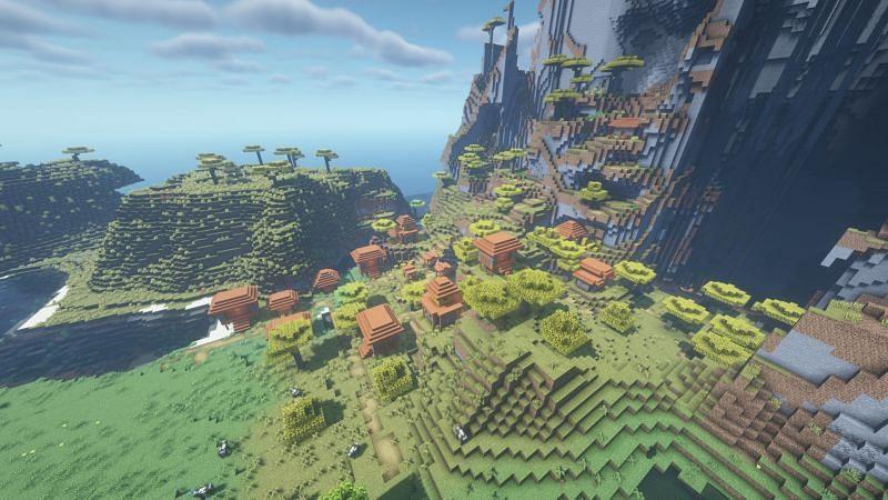 Un pueblo en el bioma de la sabana destrozada (Imagen a través de Minecraft)