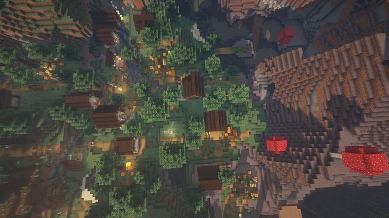 Un pueblo junto a un bioma de hongos (Imagen a través de Minecraft)