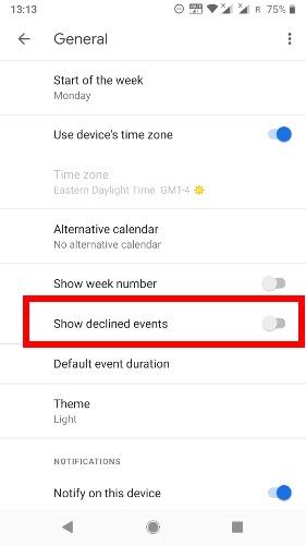 Deshacerse del correo no deseado Calendario de Google Eventos rechazados Teléfono