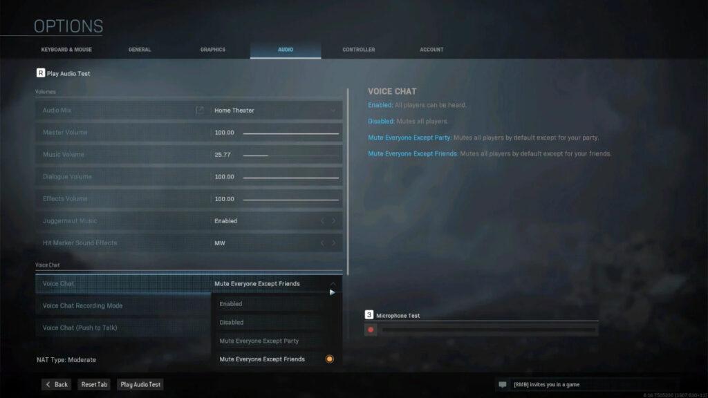 Captura de pantalla del menú donde puedes silenciar a los jugadores en Warzone.