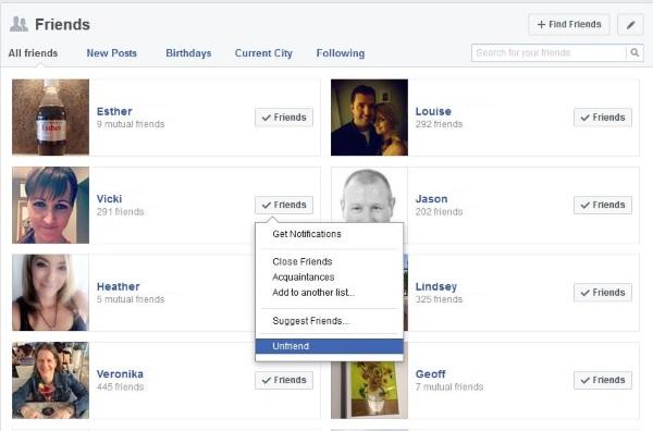 Cómo dejar de ser amigo o bloquear a alguien en Facebook2