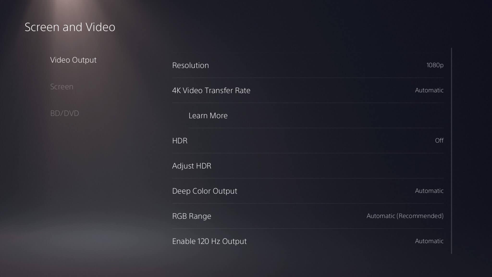 Página de configuración de pantalla y video de PS5