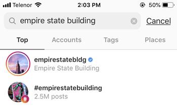 búsqueda de instagram