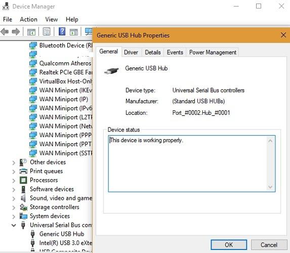 Concentrador USB de estado de verificación del administrador de dispositivos