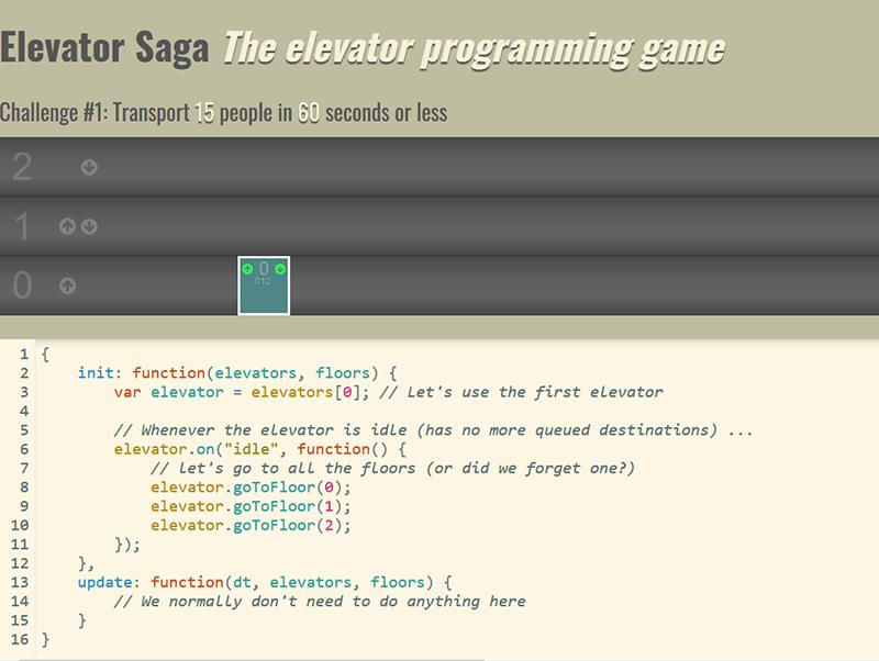 Juegos de codificación Elevator Saga