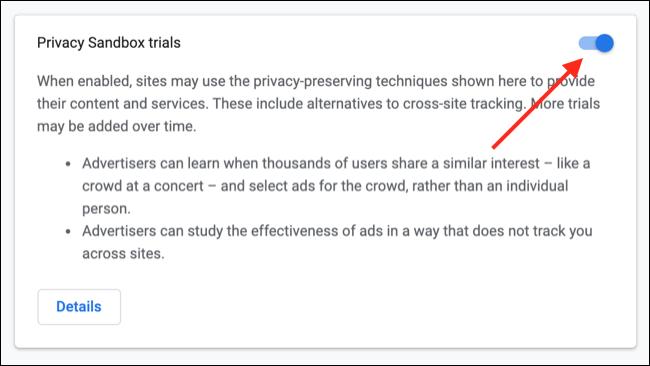 Inhabilitar la zona de pruebas de privacidad de Google Chrome